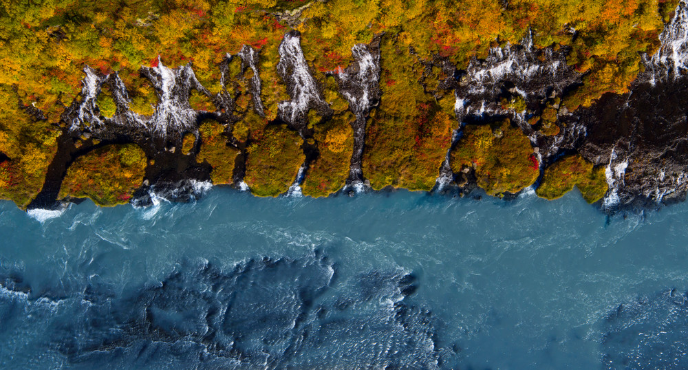 Hraunfossar Aerial Panorama