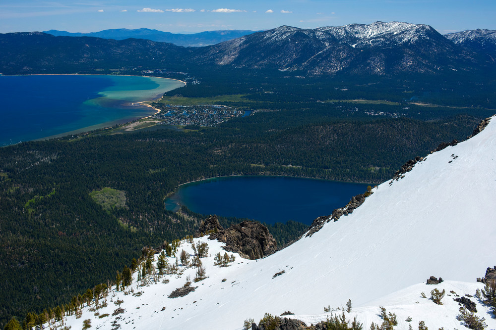 Ski Tracks on Tallac, Lake Tahoe Aerial photo