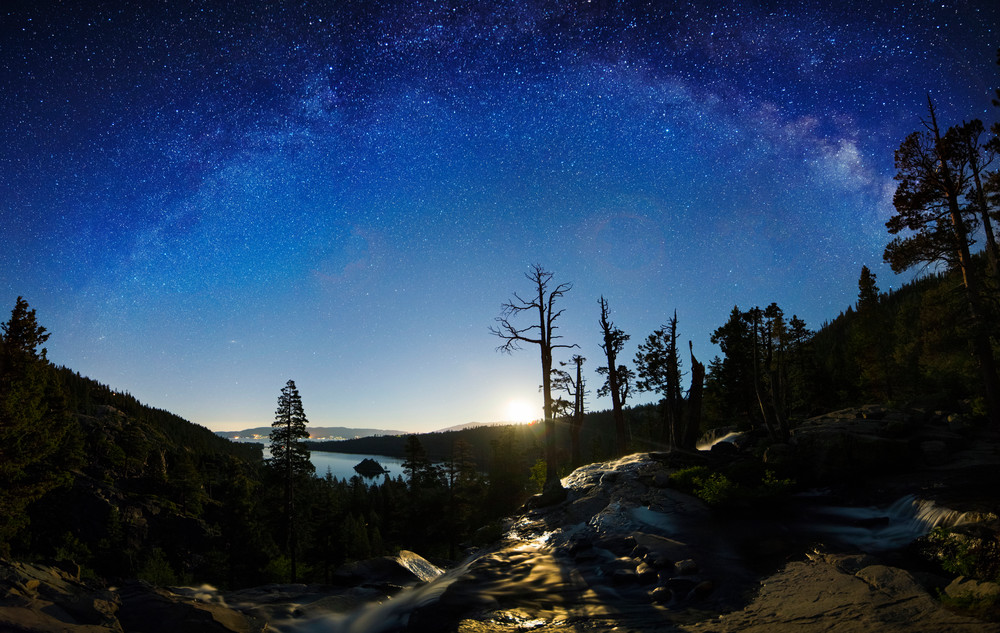 Eagle Falls Moonrise Lake Tahoe print by Brad Scott