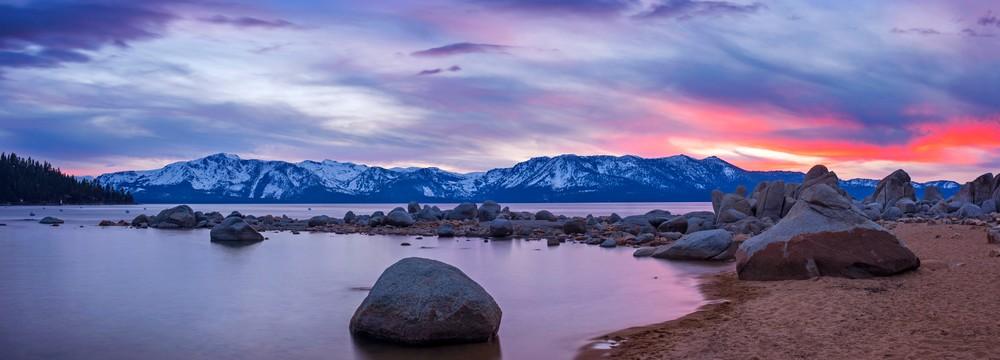 Zephyr Cove Sunset Panoramic print by Brad Scott