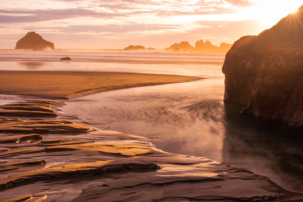 Bandon Beach Sunburst Fine Art Print by Brad Scott