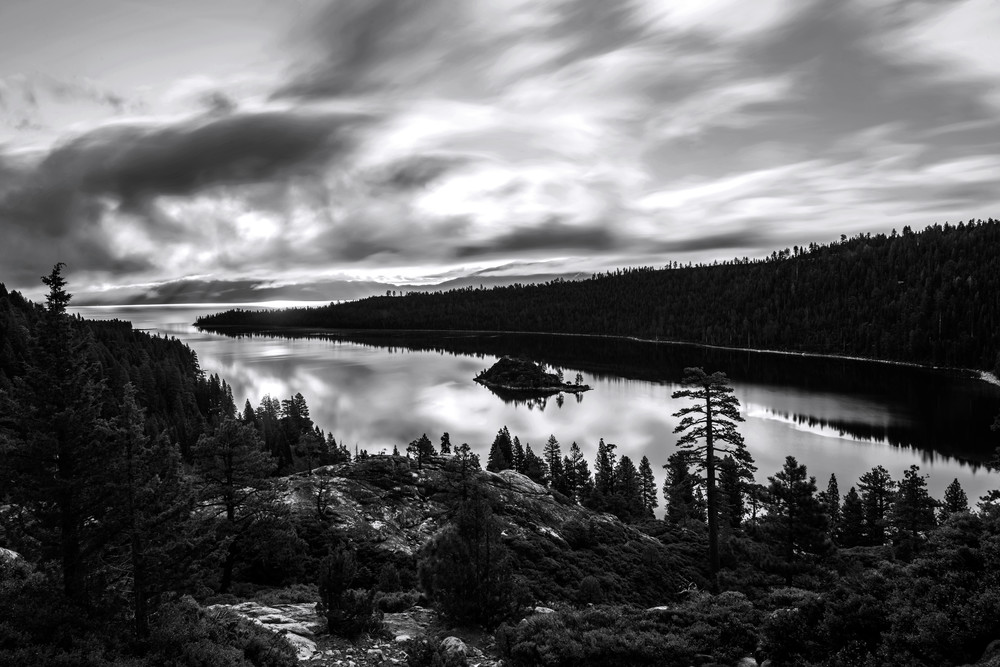 Emerald Bay Rays Black and White Photograph by Brad Scott