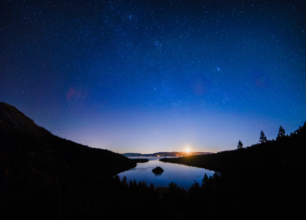 Emerald Bay Moonrise, Lake Tahoe print by Brad Scott
