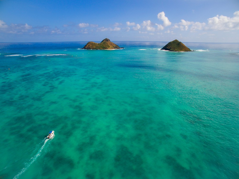 Mokaluas Boat Day Aerial Photography print