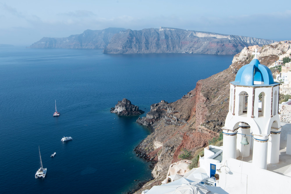 Oia Church Tower, Santorini Greece Photography Print