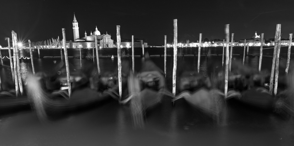 Blurred Gondolas, Venice Italy Panoramic Print by Brad Scott