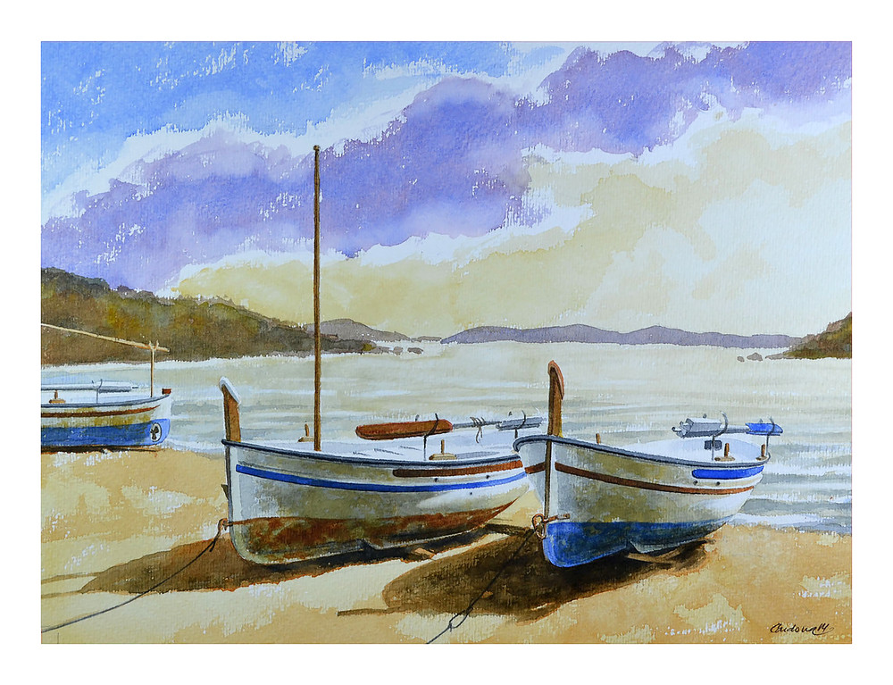 Two Boats Moored Art | Pixel Mouse House LLC