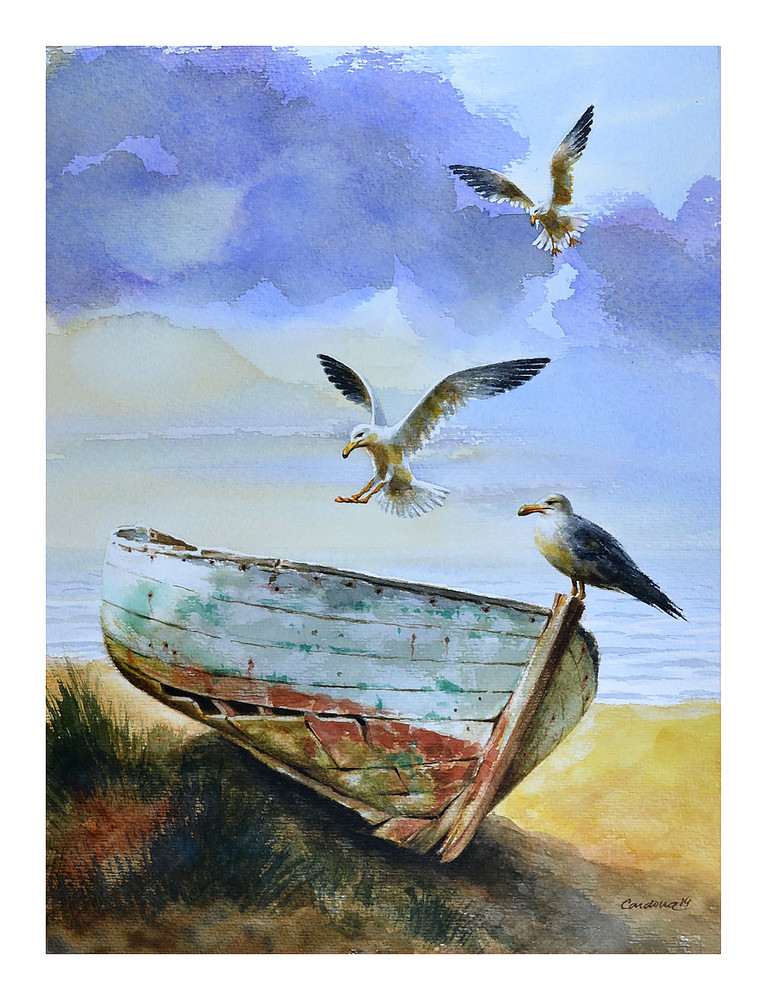 Seagull Over Boat Art | Pixel Mouse House LLC