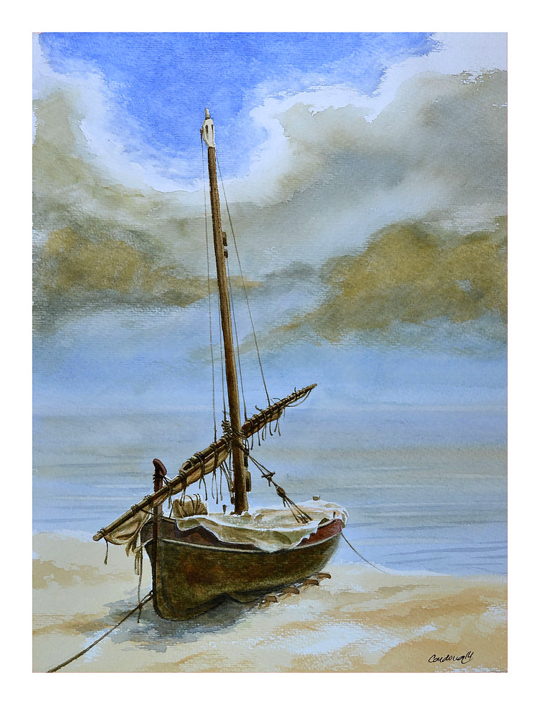 Rustic Red Sailboat on Beach