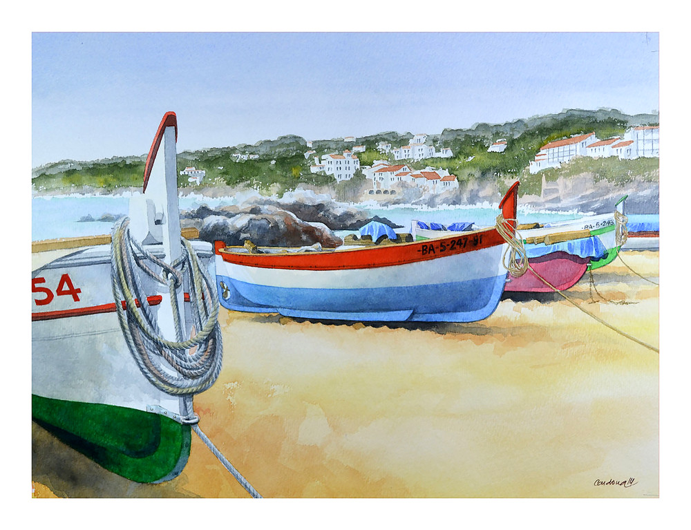 Fishing Boats On The Beach Art | Pixel Mouse House LLC