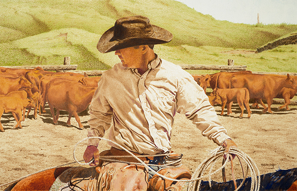 "Raymond Wattenhofer Shop Digital Art Print Of Working Cowboy ""Dally Up""."
