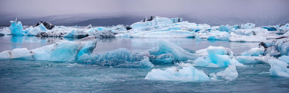 Jokulsarlon Glacier Ice Panorama by Brad Scott