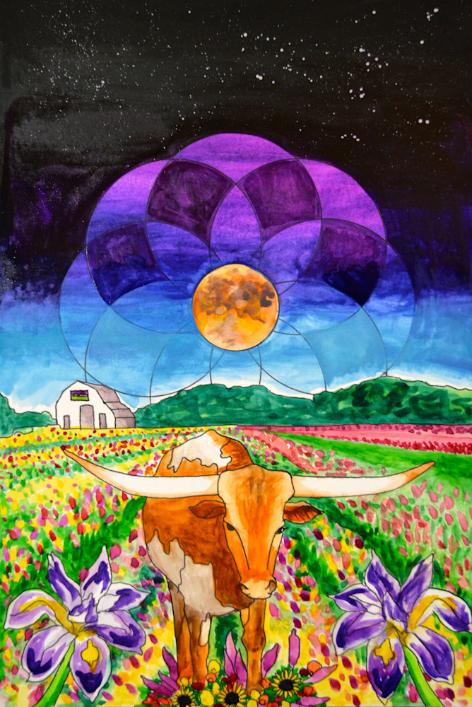 Taurus The Bull, In A Field Of Flowers, Beneath The Harvest Moon Art | Gnarwhal Designs