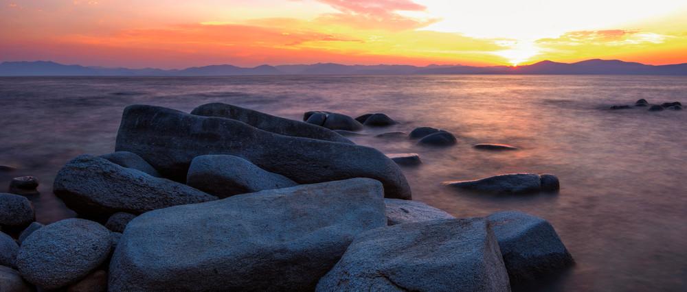East Shore Rocks, Lake Tahoe Sunset Photo Print