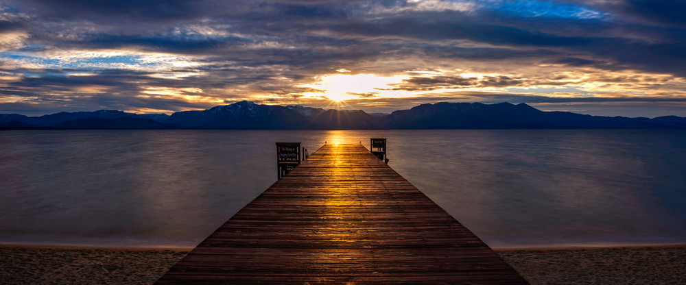 Tahoe Shine, Lake Tahoe Pier Sunset Photo Print