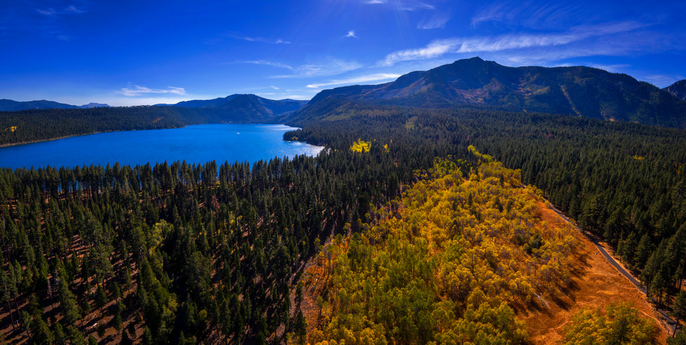 Fall Colors in Tahoe Aerial photo