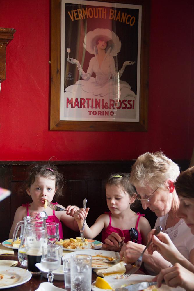 Three Generations Enjoy a Pub Lunch