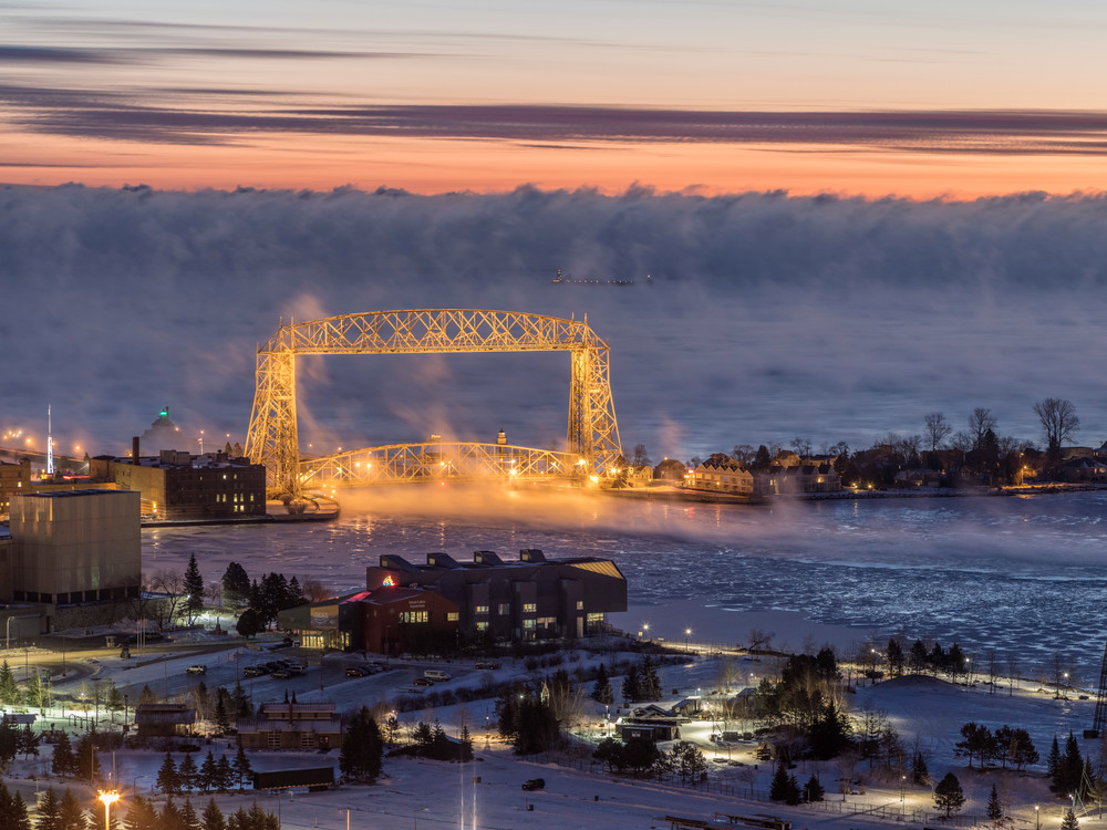 Duluth Aerial Liftbridge in sea smoke before sunrise