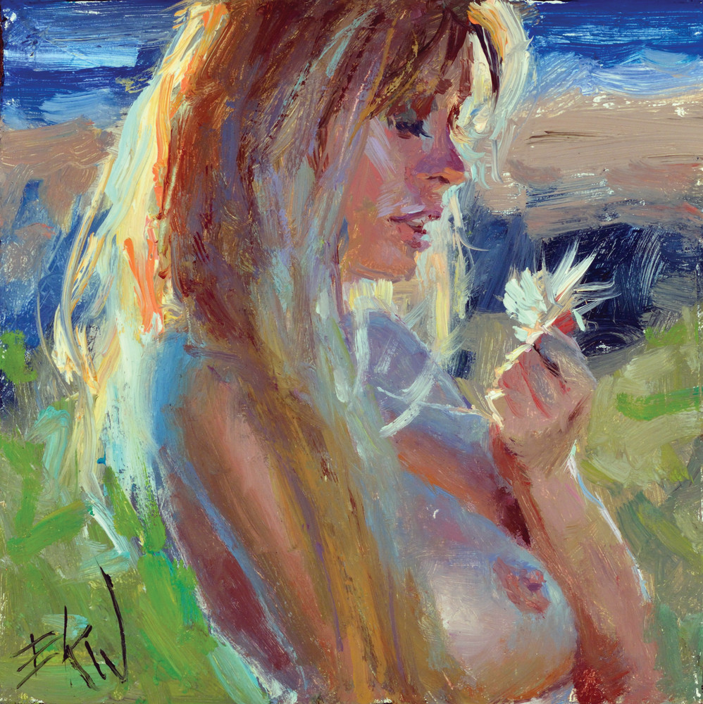 Miniature nude oil painting