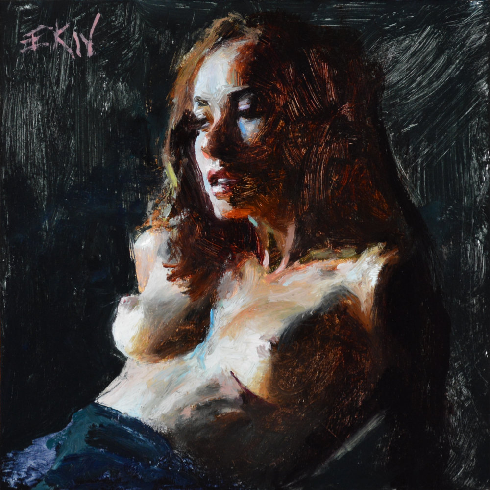 "Miniature nude oil painting ""Moonlight"" by Eric Wallis"