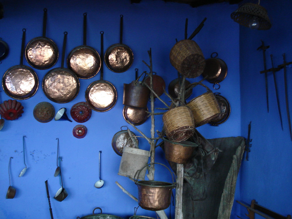 Italy photograph kitchen blue pots and pans copper
