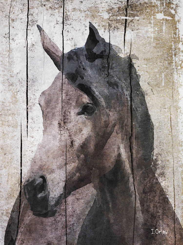 Horse LeMuse, Large Brown Farmhouse Rustic Horse Art