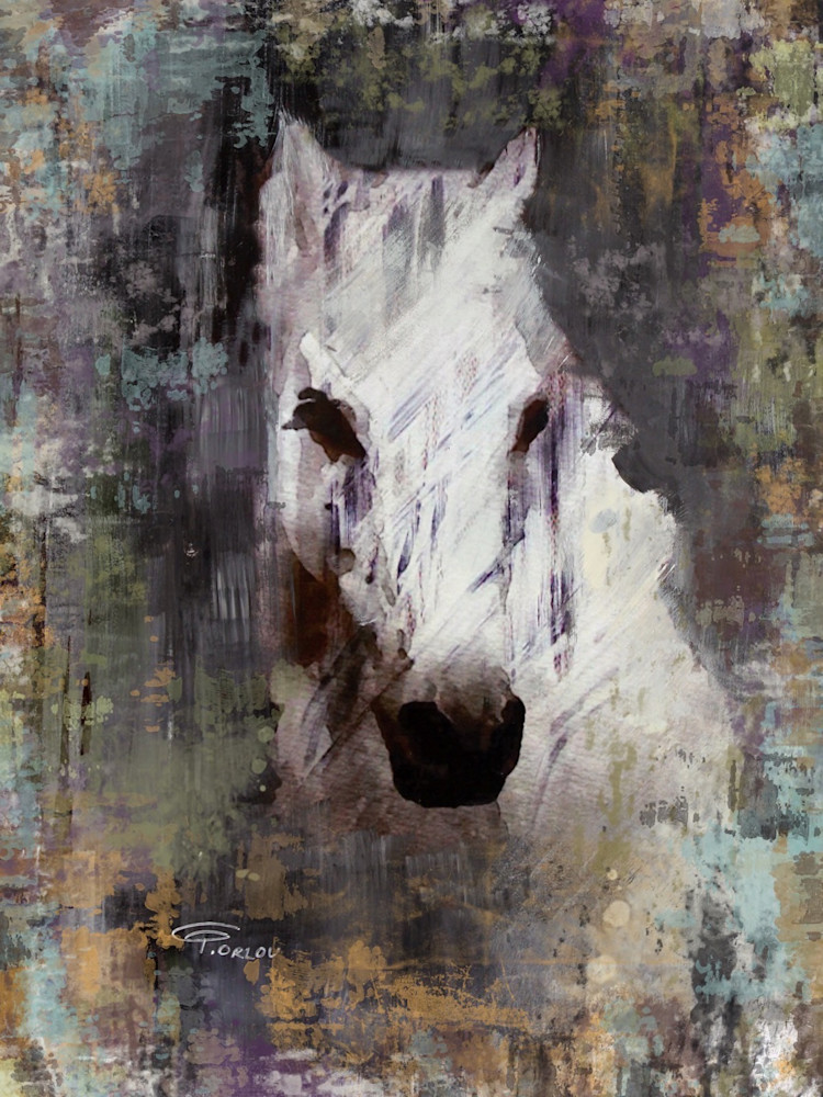 Purple Queen, Horse Portrait. Equestrian Rustic Wall Art, Textured Decorative Horse Art, Farm House Wall Decor. Great Selection of Irena Orlov Horse Art.