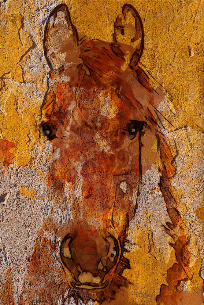 Yellow Horse, Equestrian Rustic Wall Art, Textured Decorative Horse Art, Farm House Wall Decor