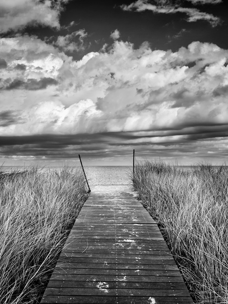 """Bend-in-the-Road Beach Path"" Black and white Martha's Vineyard beach photography"