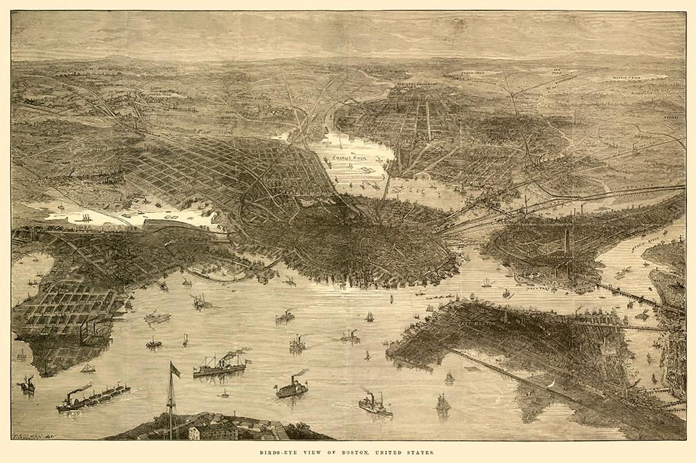 Bird's Eye View of Boston.