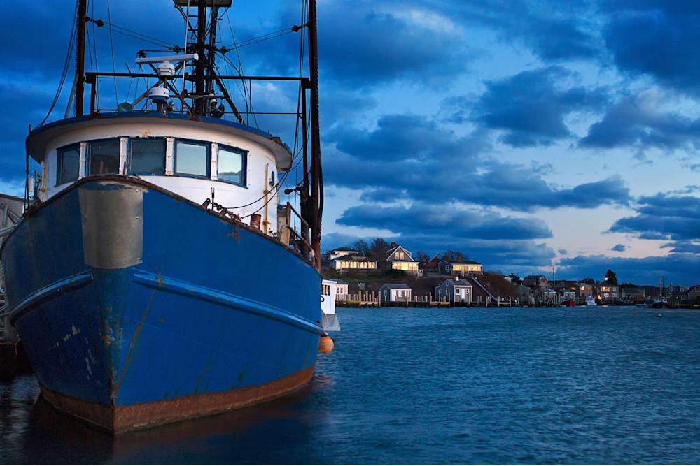 """""""Menemsha Dusk"""" Martha's Vineyard fishing boat harbor photograph"""
