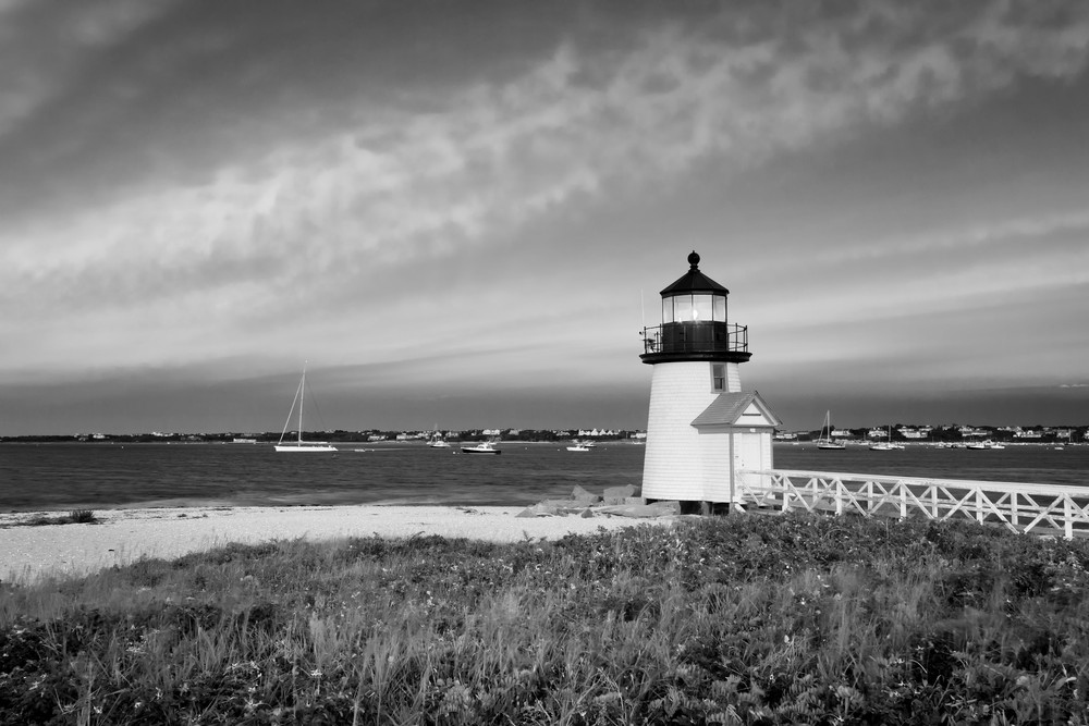 """Brant Point Sunset I"" Nantucket black and white lighthouse photograph"