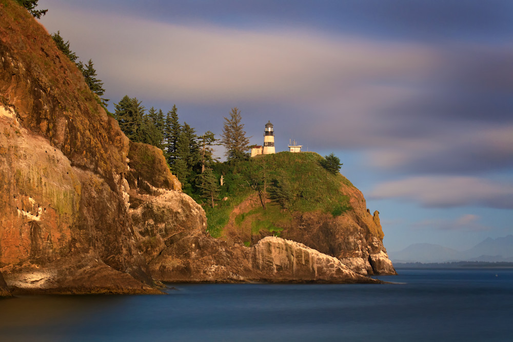 """Cape Disappointment Foggy Sunset"" Washington lighthouse photograph"