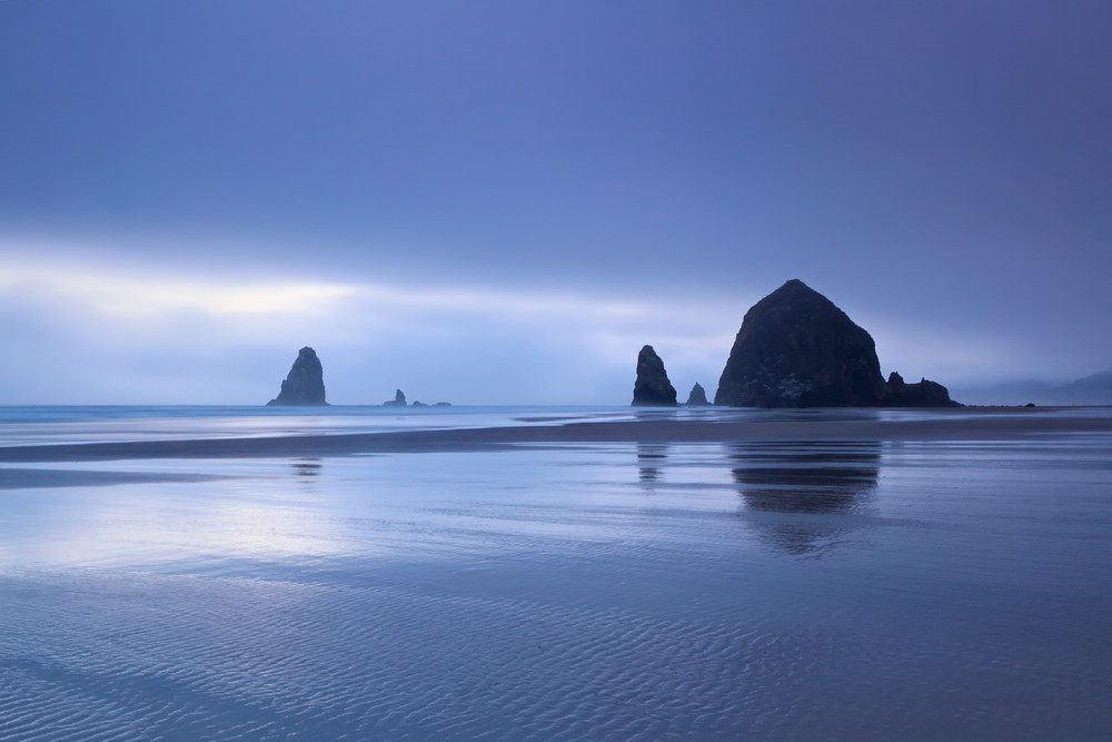 """Cannon Beach in Fog"" Oregon coast seascape photograph"
