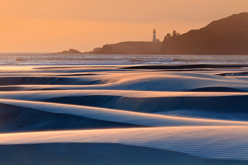"""Swirling Sands"" Oregon coast lighthouse seascape photograph"
