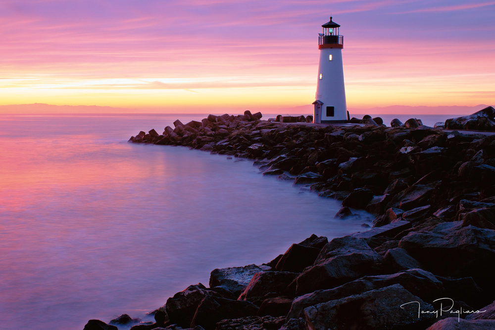 Walton Lighthouse at Dawn for sale as fine art by Tony Pagliaro