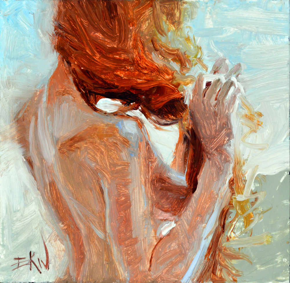 "Painting of a nude titled ""Ginger Braids"" by Eric Wallis"