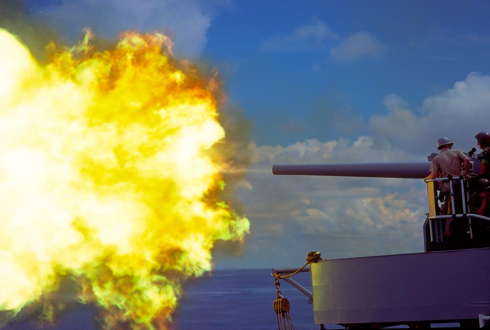 5 inch naval gunfire photograph for sale as Fine Art.