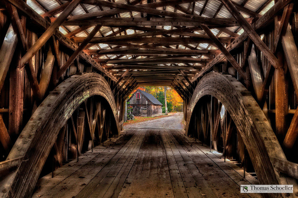 Architectural design meets scenic landscape with this beautiful New England covered bridge artwork! Prints available from Thomas Schoeller