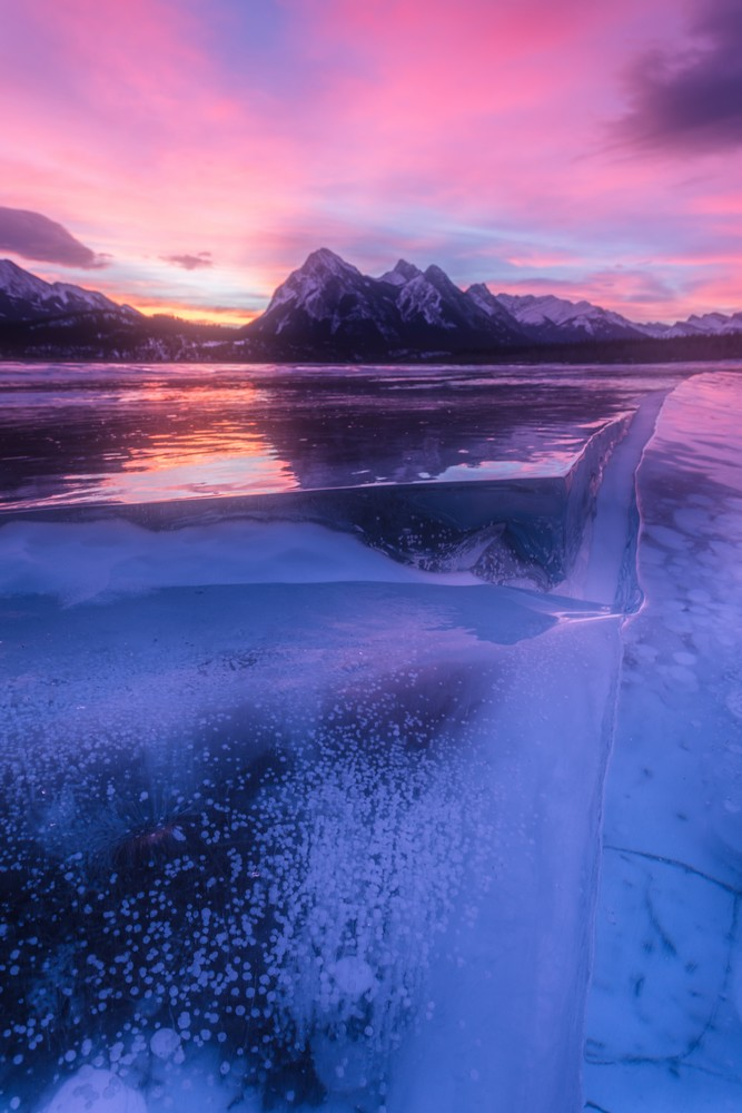 Frozen Ice Shelf at Abraham Lake