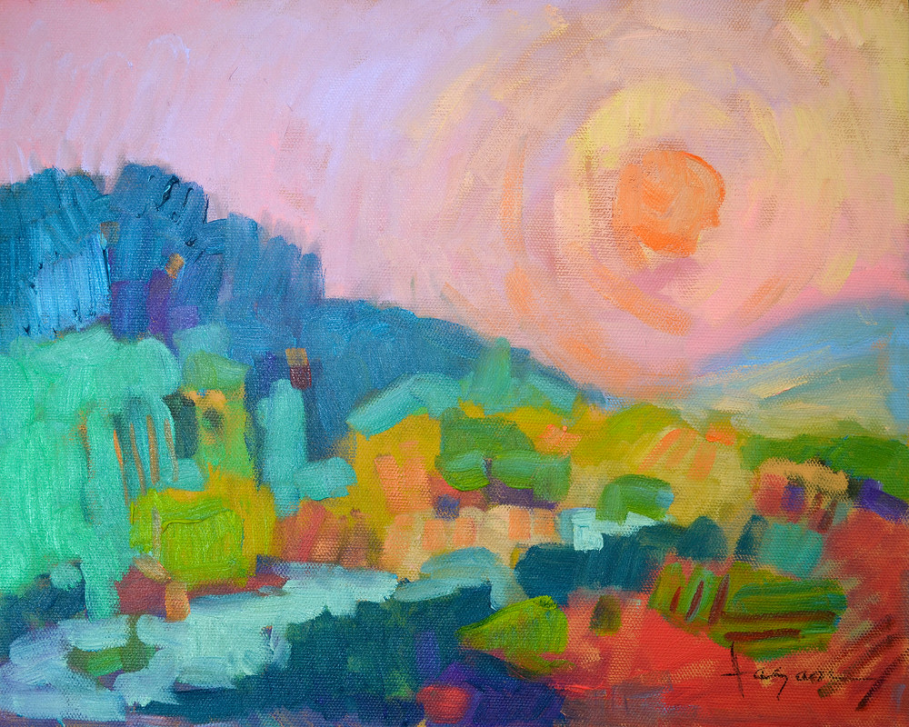 Small Dreamy Sunset Landscape Art Print on Canvas, Waking Dream by Dorothy Fagan
