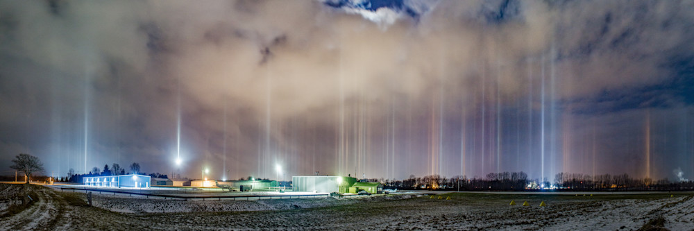 Light Pillars Over Charlotte Airport