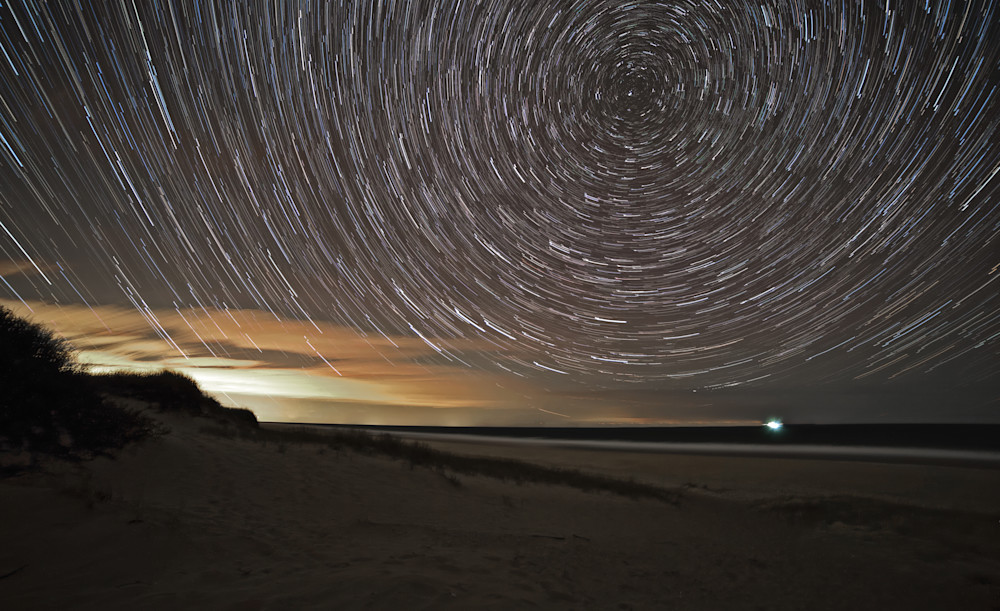 Late evening star trails on Cape Cod