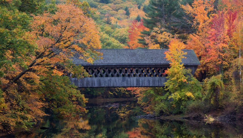 The NEC walking covered bridge dressed for fall glory