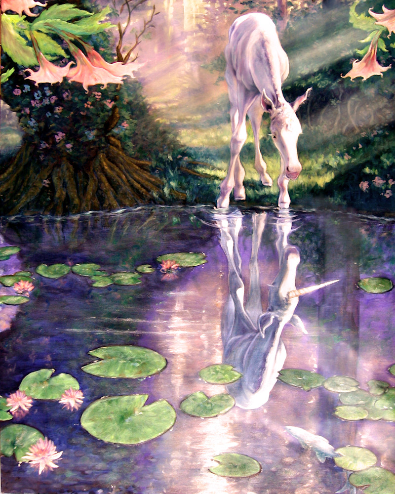 Pool of Potential, baby unicorn inspiring art print