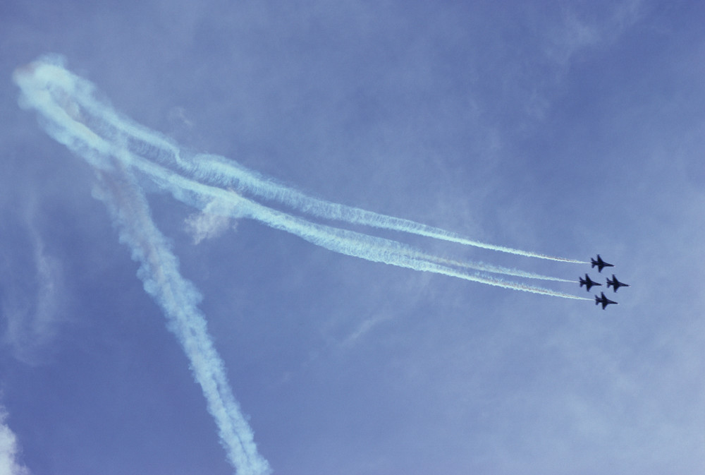 Air Force F16a Thunderbirds flying in formation - fine art photograph