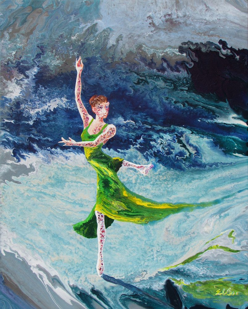 Beautiful Ballerina Art - Four Seasons (i) - Spring, Abstract Figurative Painting