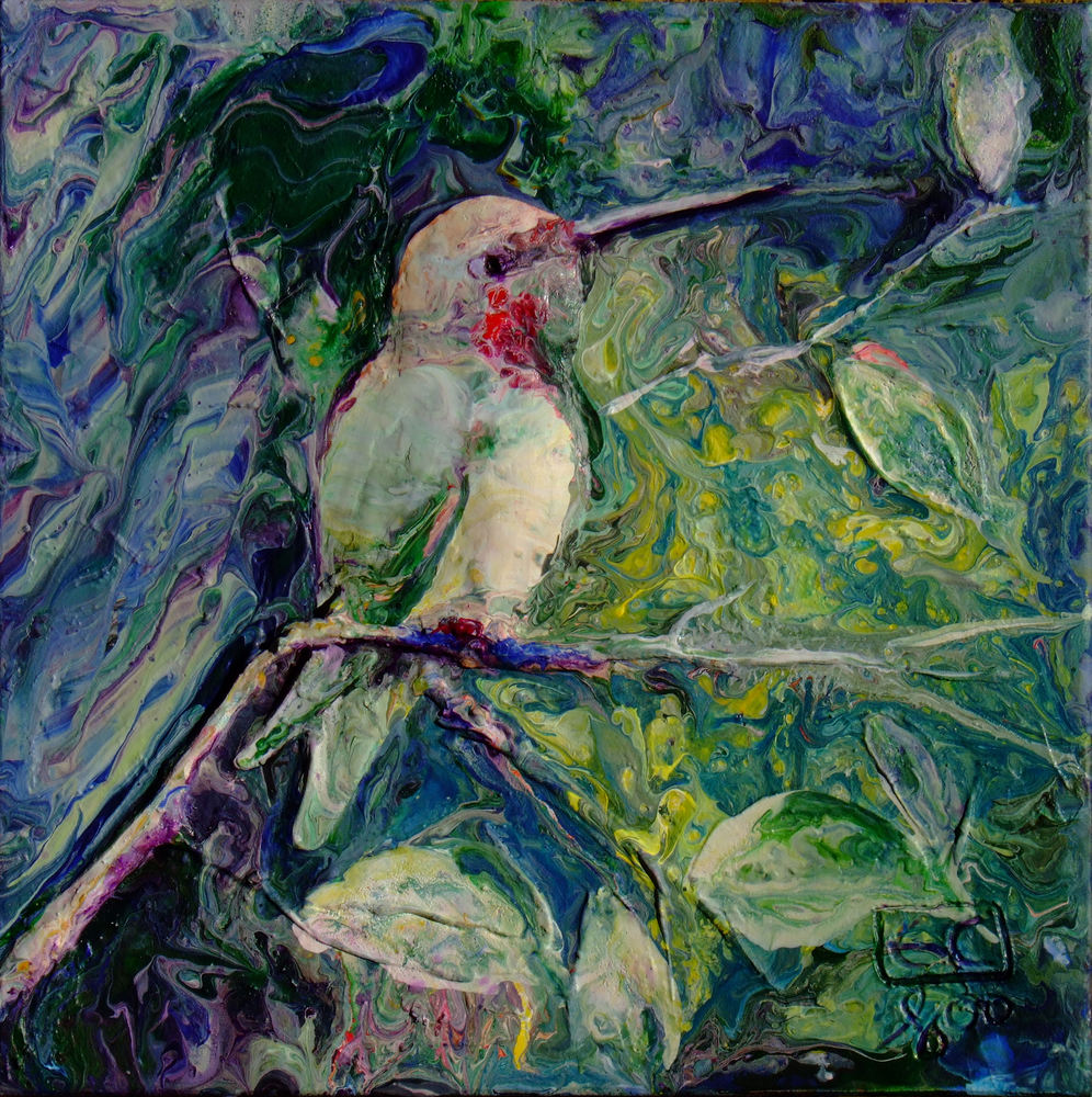 Abstract Hummingbird art, Sculpted Relief on Canvas,