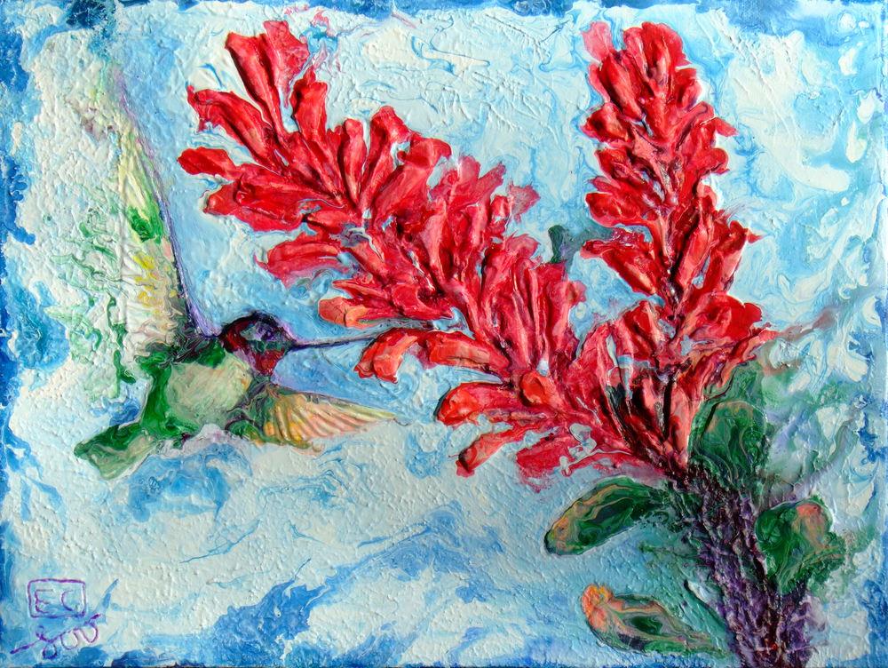 Abstract Hummingbird Art - Ocotillo delight