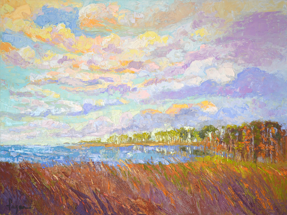 Beautiful Cloud Painting, Canvas Art Print Inlet II by Dorothy Fagan Collection